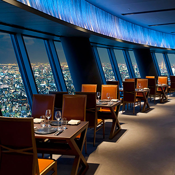 A restaurant 345 meters up with panoramic views of Tokyo